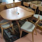 M786 Double ped table with 5+1 M1551 chairs redone Champagne 1551's