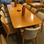 All original Champagne. Upholstery is newer and in very good/excellent condition. Price for this set with only the four flowered chairs, $2700. The striped chairs are $750. M 197 Triple Pedestal table