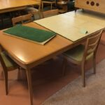 Refinished in Champagne. 165 large extension table
