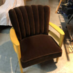 completely refinished and redone with brown Velvet-Mohair  sold channel back