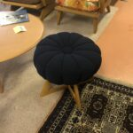 Newly reupholstered in Growpoint Navy Blue. Base redone in Wheat. $425 Sculptura Pouffe