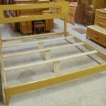 Custom King Dogbone platform bed with headboard cutout in Wheat