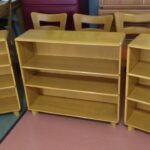pair of half width custom bookcases with an M321 in Wheat 321's
