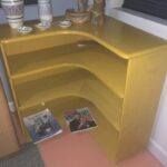 Corner bookcase refinished Wheat. 3971