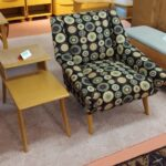 newly reupholstered and legs refinished in Wheat M343 Lounge chair