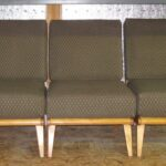 Previously refinished in Natural with new cushions and upholstery. Aristocraft CM 366 right and left arms and middle filler