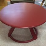 """Revolving cocktail table in red lacquer $425. 32"""" round. Made from 1941 to 44"""