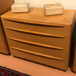 . 42 x 19 deep x 34 high Encore 521 dresser redone Wheat. Used but excellent condition.