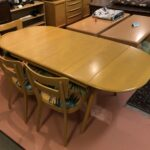 M786 double ped drop leaf table redone Wheat.