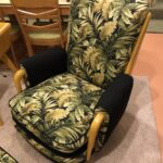 totally redone in Wheat and new fabric. Cushion is reversible with black on the other side.  $3850 3387 arm chair and stool