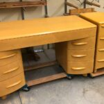with custom filing cabinet in Wheat desk . 320 desk