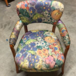 Upholstery is newer in excellent condition. Wood is the original Amber finish and could use a refinishing.  $550 as is c3765 chair