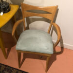 Previously redone Natural. Excellent condition. Cateye arm chair