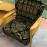 C3994 Channel back arm chair completely redone with a tapestry type fabric.