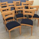 Set of 8 side and two captains chairs redone Champagne and new upholstery.