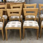 set of 6+2 dogbones refinished Natural with new upholstery