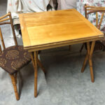 32x32 square x 64 opened. (The top folds over).  Unfortunately, only two chairs came with it. $850 Ashcraft game table