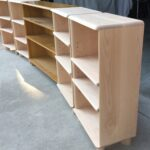the unfinished ones are the new ones. new bookcases with a vintage 321