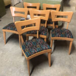 Set of six side Dogbone chairs redone Champagne with new upholstery $2550  sold Dogbones