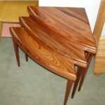 Reproduction Triangular Nesting tables in Mirado - a Bolivian Rosewood