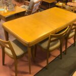 and four M953 chairs. Table has been refinished in Wheat. Chairs were refinished several years ago and used. They are in very good/ excellent condition. Fabric could be cleaned/replaced. $1650 M163 table