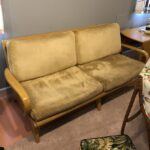 Redone Wheat.  $1750, lightly used. Wood/finish excellent. Upholstery could be updated. The back cushions are the original spring filled, the seat cushions are newer foam rubber. M369 Aristocraft sofa