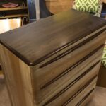 Made with Walnut and Sycamore. Handles modification set lower for better contrast with the Sycamore. Height is 4 inches higher at 48. 19 deep x 38 wide. $1950 sold Encore style (M1522)